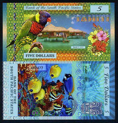 South Pacific States, $5, Tahiti (French Polynesia) 2015, Polymer, UNC
