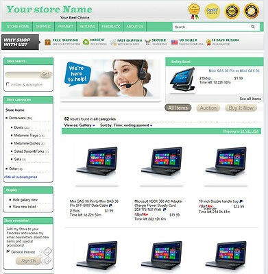 eBay Professional Design Listing Template and Store Layout Theme nice green