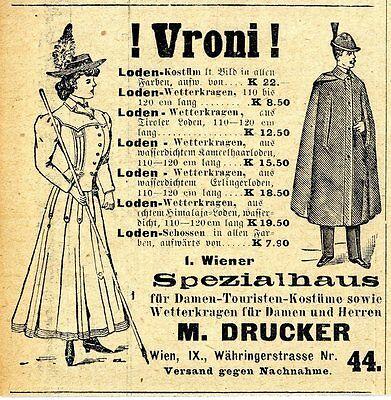 1.Wiener Spezialhaus für Damen-Touristen-Kostüme M.Drucker Wien 1910