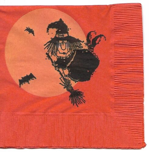 Vintage COCKTAIL Halloween Napkin ~ Silly Witch On Broomstick, Bats, Moon