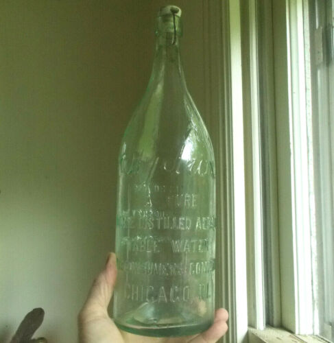 HYDROX AERATED TABLE WATER CHICAGO 1/2 GALLON 1890s HAND BLOWN BLOB TOP BOTTLE