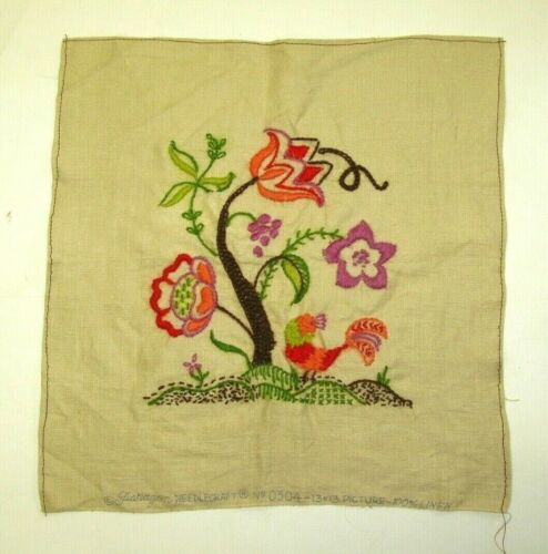 Vintage Completed Finished Crewel Paragon Embroidery Flowers #0304 13x13 Linen