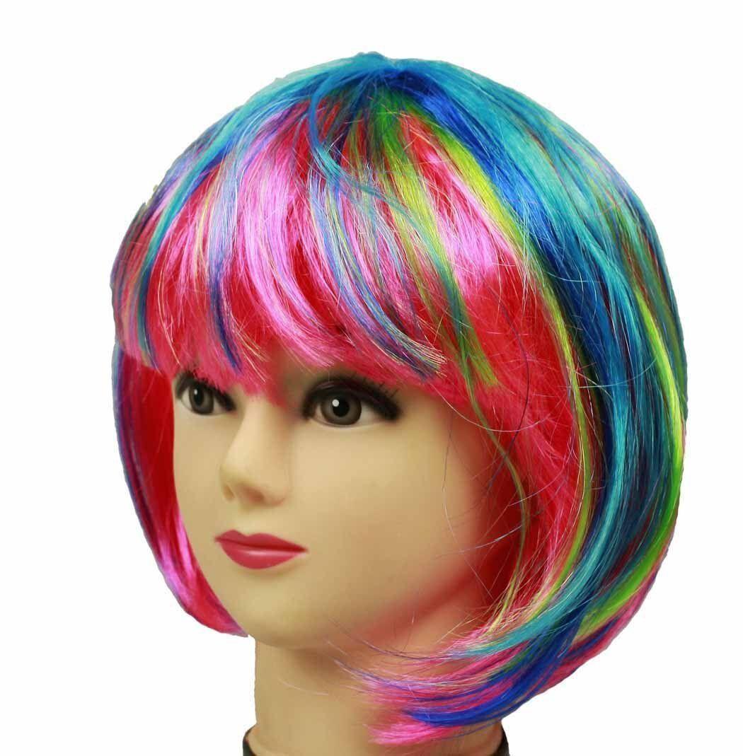 HAAC Perücke Kurzhaar Farbe Regenbogen bunt für Fasching Karneval Party