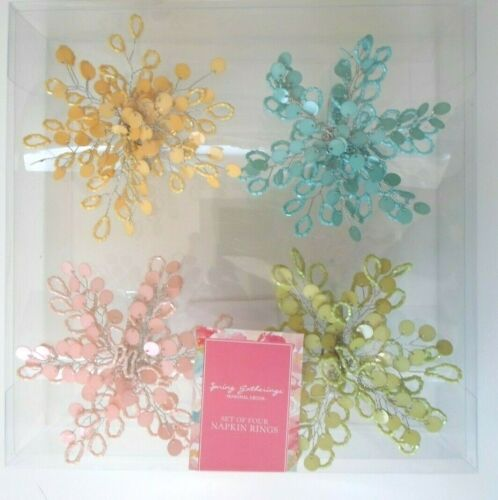 4pc Pastel Flower Floral NAPKIN RINGS Set Beaded Metal Easter Spring Gatherings