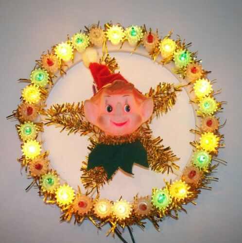 VINTAGE CHRISTMAS LIGHTED TINSEL WREATH WITH PIXIE ELF CENTER PIECE DECORATION