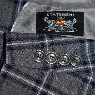 BIG 50L 3 Piece Gray Blue White Madras Plaid Vest SUIT Pleated 45