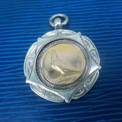 Vintage Stg Silver & Gold Lyme Regis PIGEON Fob Medal h/m Chester 1937 Stockport