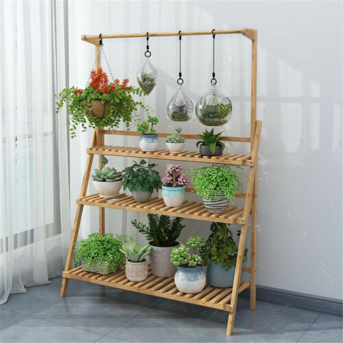 Folding Bamboo Plant Stand 3-Tier Flower Succulent Pot Shelv