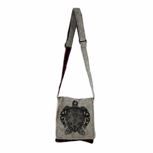 Small Gray Cotton Bag Purse with Sea Turtle Design Crossbody