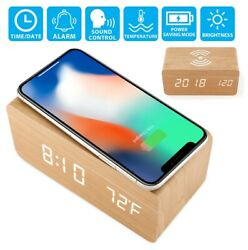 WOODEN ALARM CLOCK WITH WIRELESS CHARGING DIGITAL LED DESK CLOCK, SOUND CONTROL