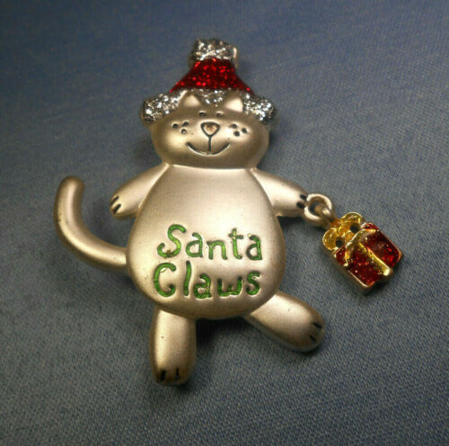 """FUN HAPPY """" SANTA CLAWS """" CAT CHRISTMAS BROOCH / PIN WITH MOVABLE PRESENT!"""