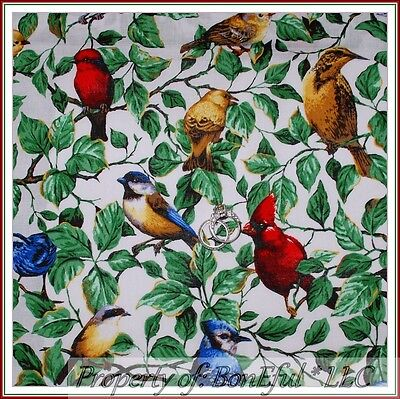 BonEful FABRIC FQ Cotton Quilt Spring BIRD Green Red Blue Jay Cardinal Sparrow S