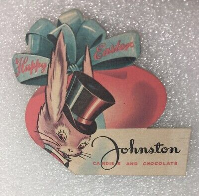 Vintage 30's / 40's Easter Candy Advertising Johnston Candies & Chocolate Tag