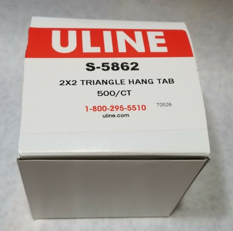 ULINE S-5862 TRIANGLE HANG TAB 2X2 NEW IN BOX 500/CT