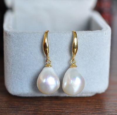AAA 12-10mm South Sea White Baroque Pearl Earrings 14K YELLOW GOLD Drop South Sea Earrings