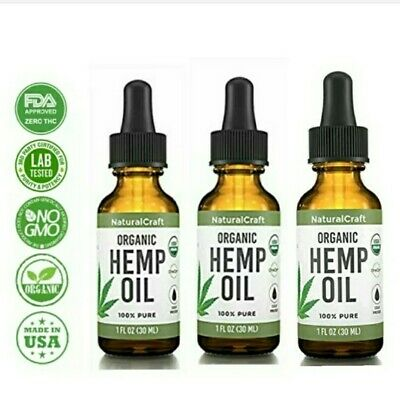 3-100% Pure Organic Hemp Seed Oil for Joint Relief, Anxiety,Cold Pressed 1 FL OZ