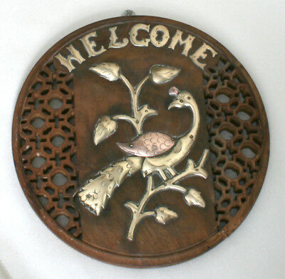 VINTAGE INDIAN HARDWOOD  WALL PLAQUE EARLY 20THC WITH APPLIED BRASS DESIGN