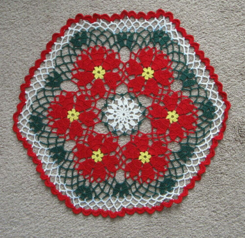 "New Hand Crocheted Christmas Doily Red Green White 14"" Round Handmade USA"