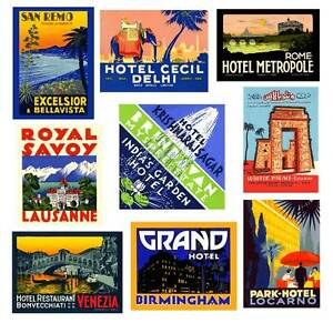★ 9 Repro Vintage Hotel Luggage Label Travel Premium Stickers