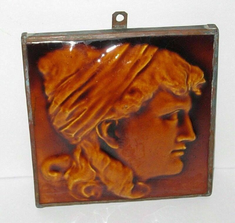 J. & J.F. Low Art Tile Works Art Pottery Portrait Profile Of Woman Copper Frame