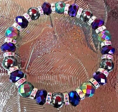 Unisex Rainbow & Black Magnetic Hematite Therapy bracelet Sizes 6-12