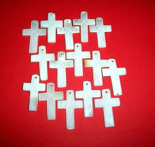 25 Mother-of-Pearl Drilled Crosses for Jewelry! RT1039a