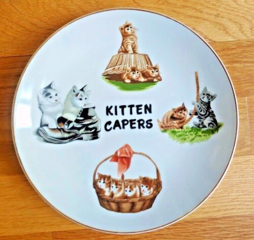 RARE VTG Kitten Capers Porcelain Plate Made in Japan Cats Playing 8 inches