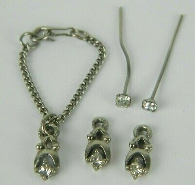 60s -70s Jewelry – Necklaces, Earrings, Rings, Bracelets 1960's Vintage Barbie Cleinman & Sons Rhinestone Necklace & Earrings w/ Drops $24.95 AT vintagedancer.com
