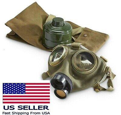 Vintage Child Size Small Military Full Face Gas Mask M75 W 40mm Filter Bag