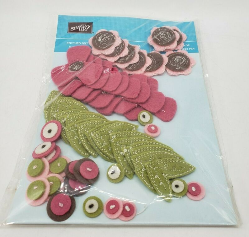 Stampin Up Stitched Felt Sweet Pea Flowers Scrapbook Card Making - 72 Pieces