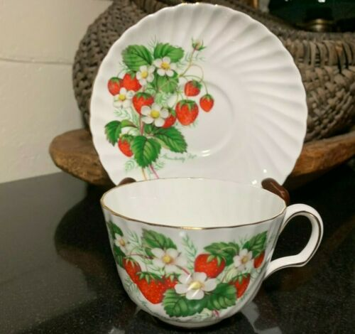 "Adderley Bone China Strawberry Ripe 2 1/4"" Flat Cup & Saucer H1232 - Excellent"