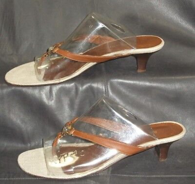 Rangoni brown leather open toe thong mules sandals Women's shoes size 7 B