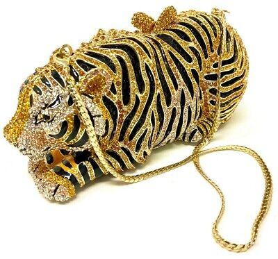 Unique Rhinestones Tiger Clutch Evening Bag Womens Crystal Handbag Purse (Crystal Evening Clutch)