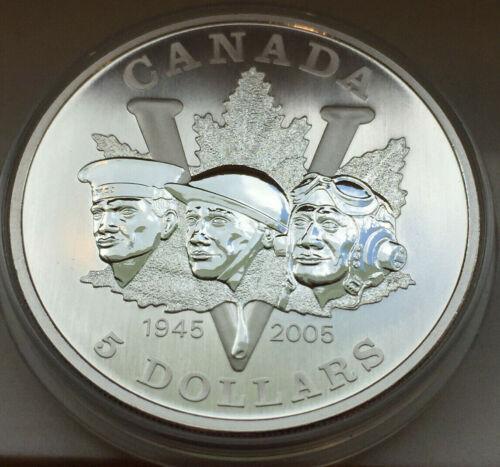 CHEAP!! 2005 CANADA 5 DOLLARS 99.99% FINE SILVER COIN 60TH END WW2
