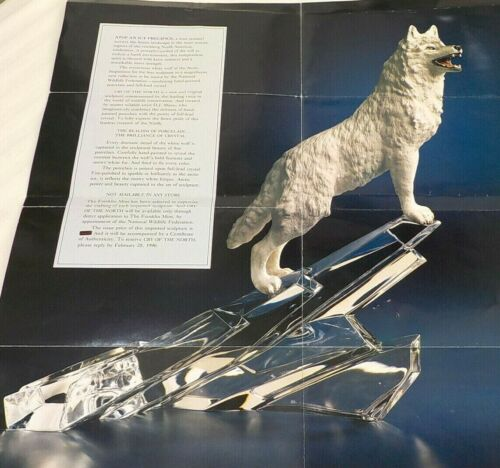 """Flawless 1988 Arctic Wolf Porcelain & Crystal 12 1/2"""" +COA Franklin Mint Germany"""