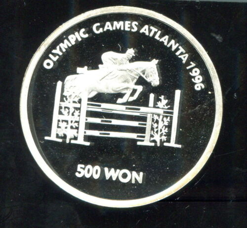 KOREA - FANTASTIC ATLANTA OLYMPIC GAMES EQUESTRIAN PROOF SILVER 500 WON, 1975