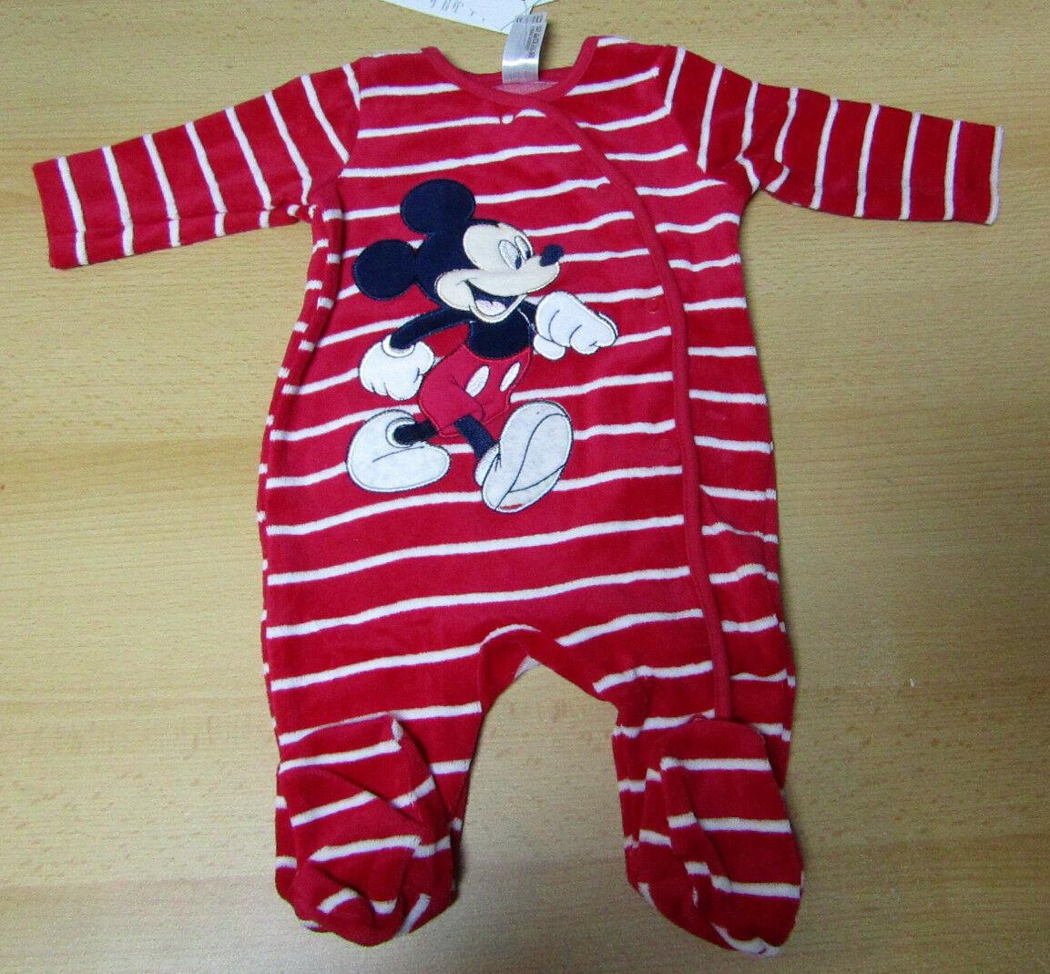 DISNEY MICKY MAUS Baby Jungen Strampler Overall Schlafanzug rot gestreift NEU