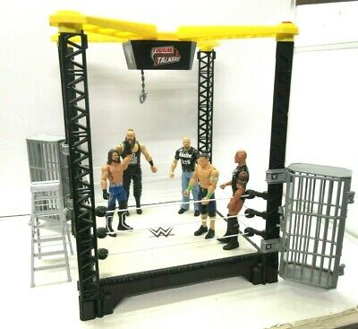 WWE WWF Tough Talkers Interactive Wrestling Ring With Cages Takedown Ring JobLot