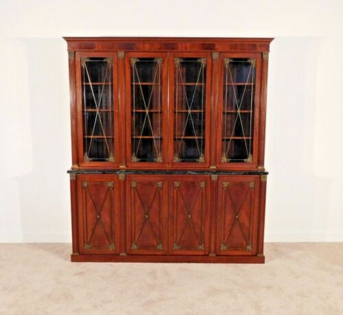 ANTIQUE English Regency Mahogany Marbletop Bookcase Breakfront Bronze Brass