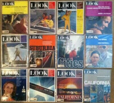 Lot of 12 Look Magazines 1960's ~ Boating California NY Vintage Advertising Ads