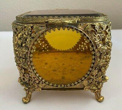 VINTAGE ORMOLU FILIGREE CASKET JEWELRY BOX W/ BEVELED AMBER GLASS