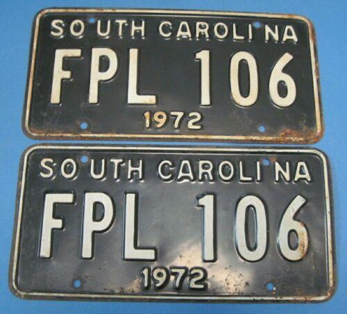 1972 South Carolina license plates matched pair