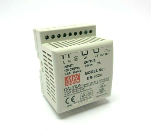 Mean Well DR-4524 Power Supply Module 100-240VAC - 24V, DIN Rail Mount P/S