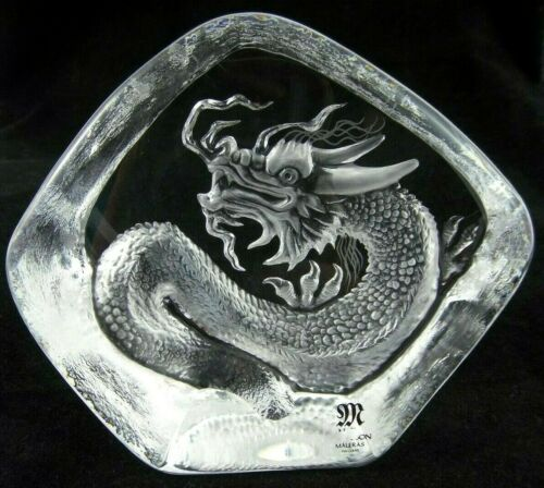 "4.5"" Mats Jonasson Vintage Glass Crystal Chinese Dragon Laser Cut Sweden 2000"