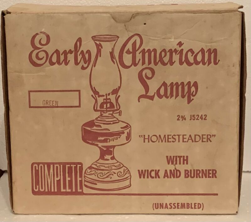 """Vintage Green Early American Lamp 19""""  Homesteader Green Top NOS"""