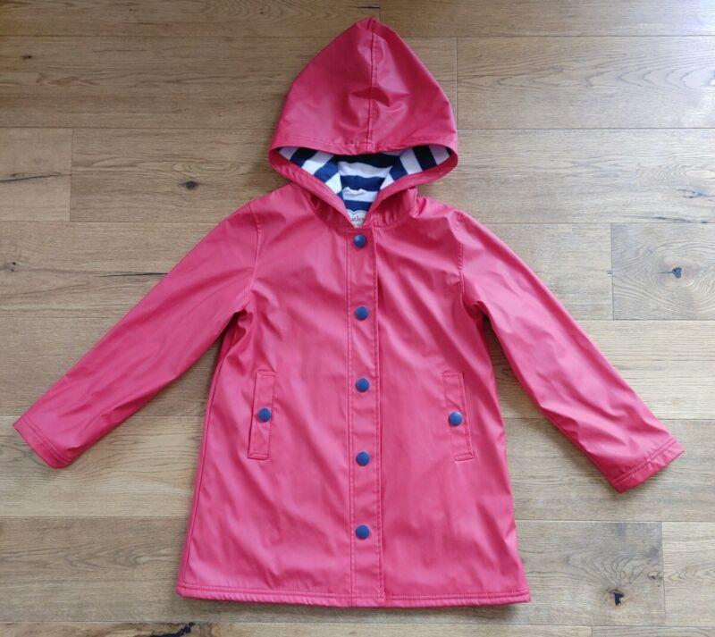 Girls Hatley Classic Red Striped Rain Coat Size 10 $65 Read Description