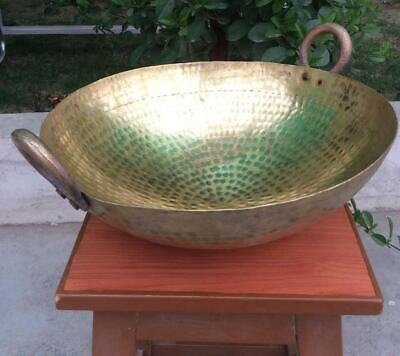 Hammered Brass Cooking Wok|Large Deep Frying Pan|Peetal Kadai|6.5 Lit|38 cms Dia for sale  Shipping to United States