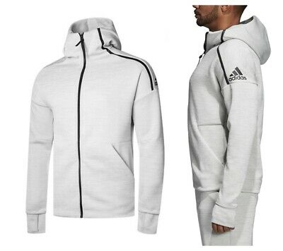 adidas Mens Hooded Sweatshirt Hoodie Grey Full Zip Jacket Track Top Size XXL NEW