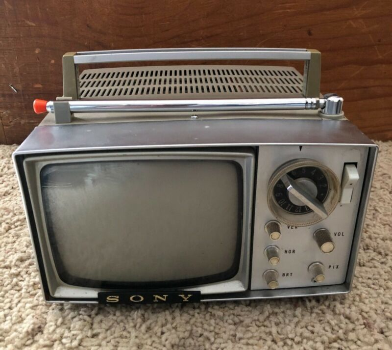 Vintage Sony Micro Television SONY 5-303W Portable TV With Case (1959)