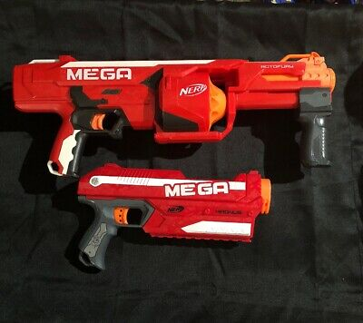 Lot Of 2 Nerf Mega Guns, Rotofury Pump-action And Magnus Dart Guns